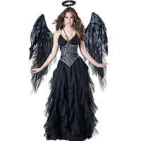 Sexy Ruffers Fancy Party Dress Halloween Female Dark Alice Angel Costume Black Girls Cosplay Sexy Adults Fairytale Angle Dirndl