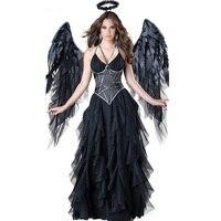 Sexy Ruffers Fancy Party Dress Halloween Female Dark Alice Angel Costume Black Girls Cosplay Sexy Adults Fairytale Angle Dirndl