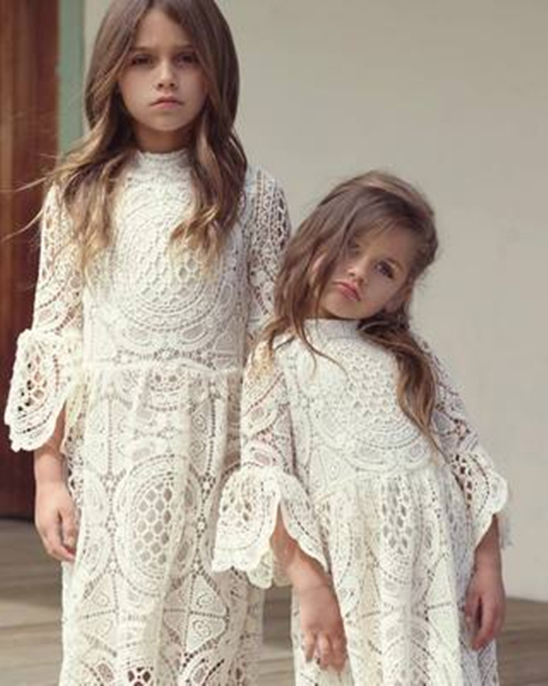 Kids Dress For Girls Flare Sleeve Lace Children Princess Dresses Autumn O-Neck Party Girls Dress Baby Girl Clothes Evening autumn girls children s kids baby long sleeve lace mesh tutu patchwork basic dresses princess wedding party dress vestidos s5691