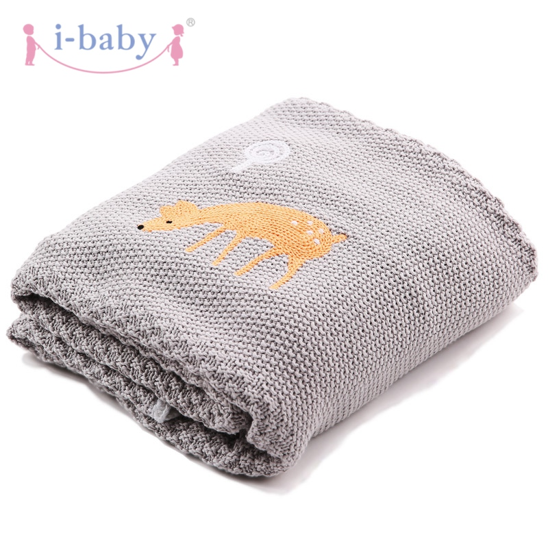 i-baby Baby Blanket Swaddling Baby Bedding Newborn Wrap Infant Sleepwear 100% Cotton Knitted Blanket with Crochet