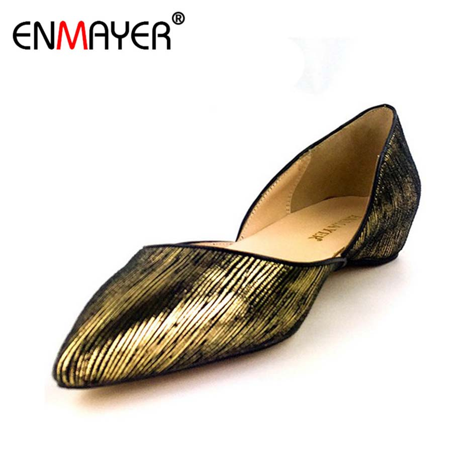ENMAYER Summer Shoes Women Flock Loafers Slip-on Black Gold Leopard Pointed Toe Shoes Flats Comfortable All-match Office Lady women flats slip on casual shoes 2017 summer fashion new comfortable flock pointed toe flat shoes woman work loafers plus size