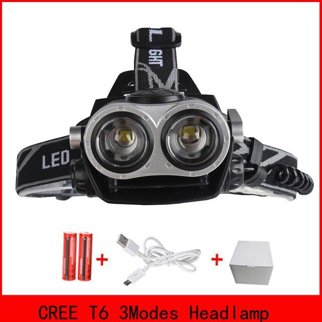 RU USA 4000Lumen CREE XM-L T6 LED Headlamp Headlight Caming Hunting Head Light Lamp 3 Modes +2*18650 Battery + EU+Car Charger