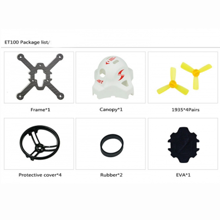 JMT Mini Ducted Frame KIT True X Style Frame with Propellers Canopy for ET100 ET115 ET125 FPV Drone Mini RC Racing Quadrocopter