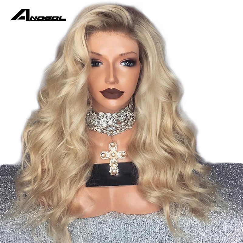 Hair Extensions & Wigs Synthetic Wigs Anogol Brown Roots Ombre Blonde Side Part High Temperature Fiber Water Long Body Wave Synthetic Lace Front Wig For Black Women