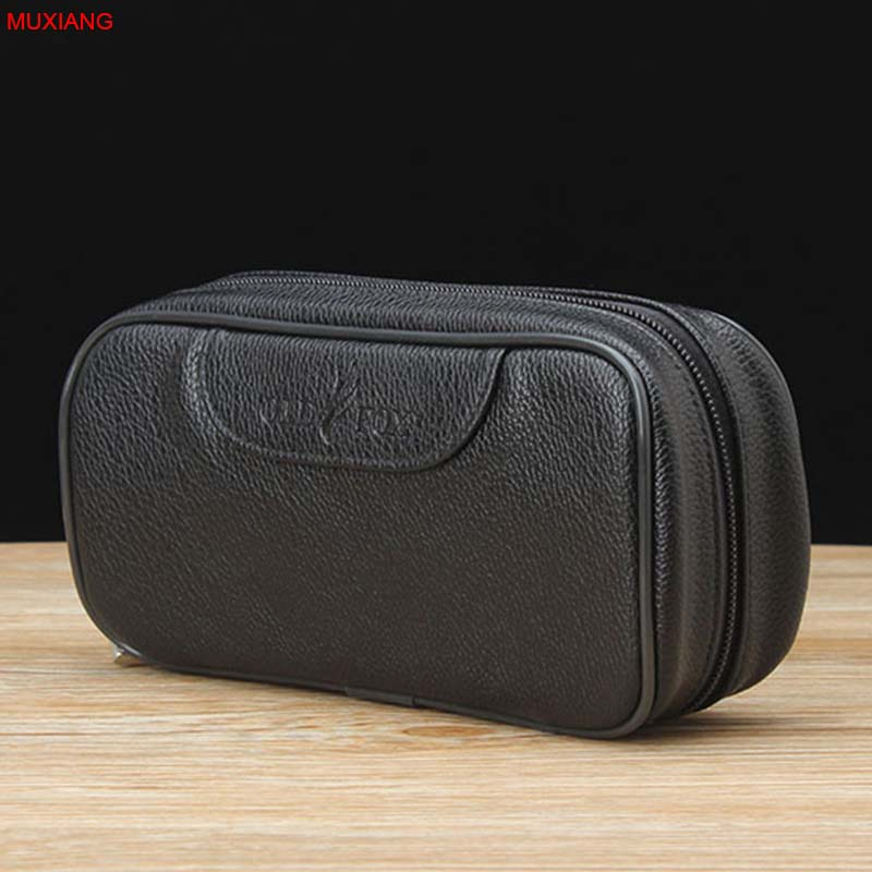 MUXIANG Good Portable PU Leather Litchi Black Pipe Pouch/Case/Bag for 2 Smoking Pipes Tamper Cleaner Tools Case fc0051