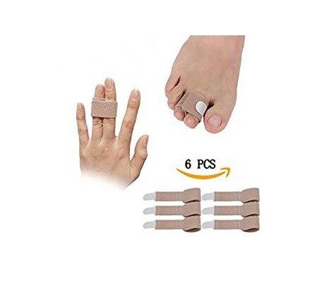 6 pcs/lot Finger Brace Splint Support for Broken Toe Finger Fabric Toe Wraps Straighterer for Hammer Toe Hallux Valgus Separator