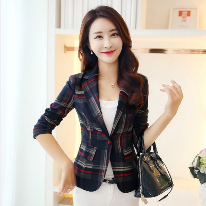 2018 Autumn Women Plaid Blazers And Jackets Suit Long Sleeve Work Wear Jacket Plus Size Female Casual Coat Feminino Outerwear in Blazers from Women 39 s Clothing