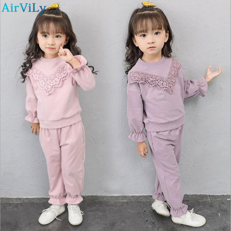 2017 Autumn Winter Kids Clothes Set Girls Clothing Sets Children Lace T-shirt+Pants Suits Baby Girl Clothes Children Clothing baby boys girls sets 2018 winter t shirt pants cotton kids costume girl clothes suits for boy casual children clothing 3cs204