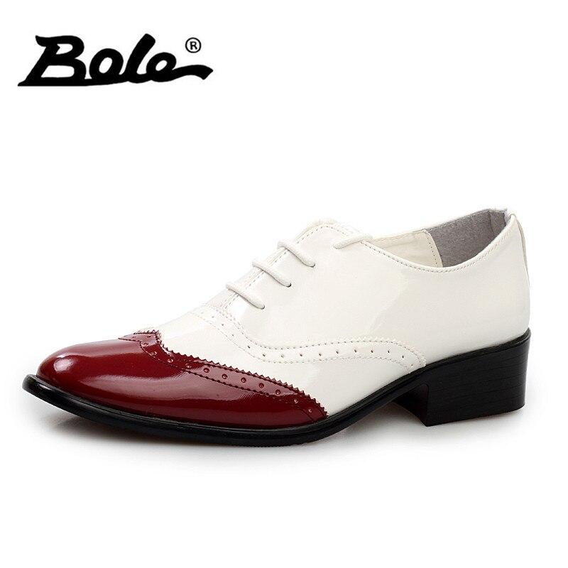 BOLE Fashion Men Brogue Shoes Men High Heel Formal Shoes Summer Breathable Comfortable Leather Shoes Men Colorful Leather Shoes