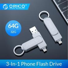ORICO OTG USB флэш-накопитель 3-в-1 U диск 64 Гб оперативной памяти, 32 Гб встроенной памяти, USB3.0 флэш-память USB флэш-диск для телефона/планшета/ПК