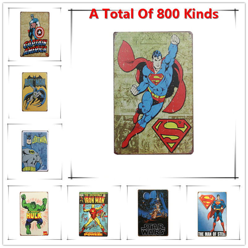 Hot Superman Chic Home Bar Vintage Metal Signs Home Decor Vintage Tin Signs Pub Vintage Decorative Plates Metal Wall Art