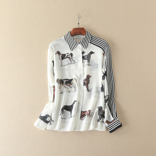 New 2017 spring summer fashion gundog hound print striped shirt long sleeve chiffon women tops