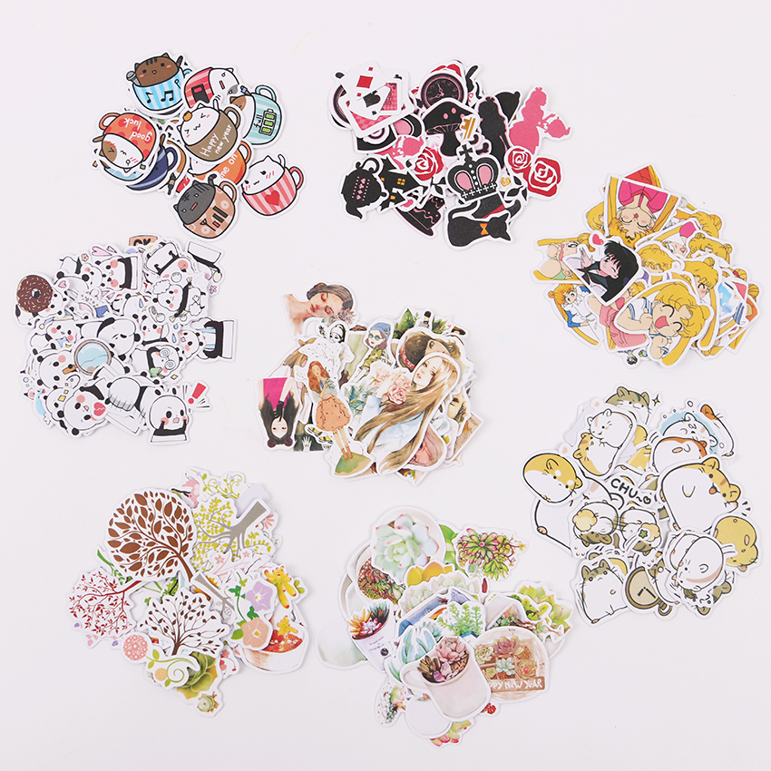 3 Sets DIY Kawaii Animal Paper Sticker Lovely Cat Stickers DIY Decoration Scrapbooking Diary Stationery Sticker for Child 14pcs creative kawaii lovely cute self made victoria rabbit animal stickers trolley case computer notebook stickers luggage