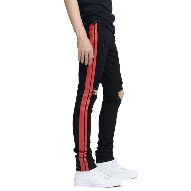 Red Stripe Printed Jeans Men Punk Pants Elastic Skinny Fit Hip Hop Jeans Fashion Youth High Street Ripped Jeans Stretch Trousers