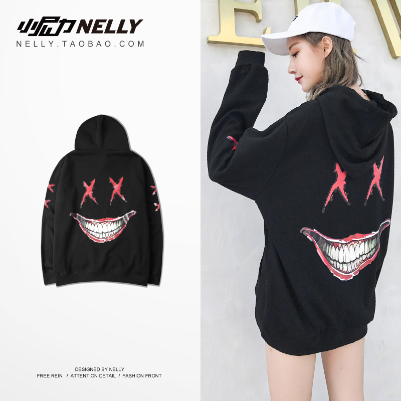 NELLY 2019 Autumn Winter Devil Smiley Hoodie Women Long Sleeve Top Hip hop Skateboard Street Dance Fashion Sweatshirt(China)