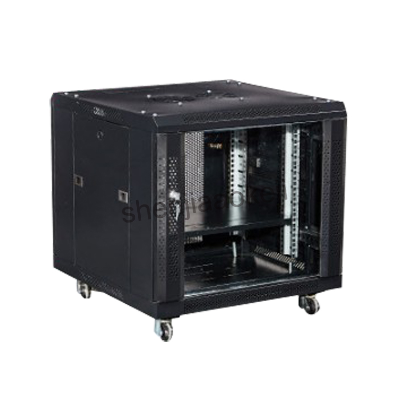 Deluxe IT Wallmount Cabinet Enclosure Server Network Rack with Locking Glass Door Deep Black with Casters SPCC Web server Monit