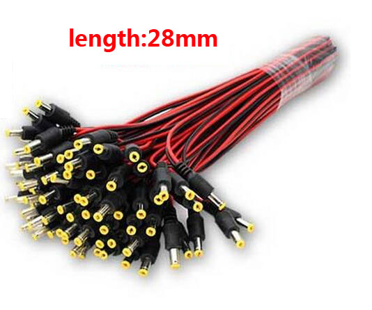 DC 5.5x2.1mm Male Connector Plug Cable 28cm Length ,Wire For CCTV Camera And LED Strip Light ,min:50pcs
