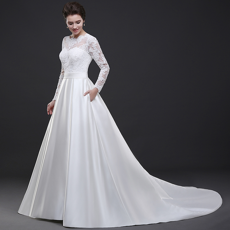 Buy white lace long sleeves wedding dress for Satin a line wedding dress