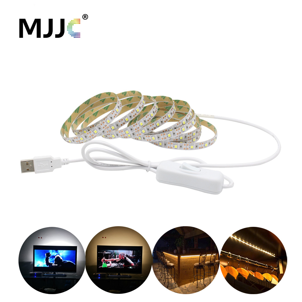 USB LED Strip Waterproof SMD 2835 5V Tria LED USB TV Light 1M 2M 3M 4M 5M LED Tape Stripe With Switch Lighting For TV Ambilight