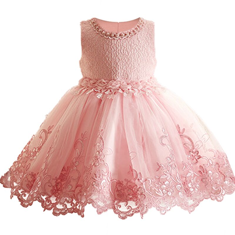 Berngi Girl Cute Dresses 2017 New Children Clothing White Color Beaded Lace Princess Girls Summer vest Dress