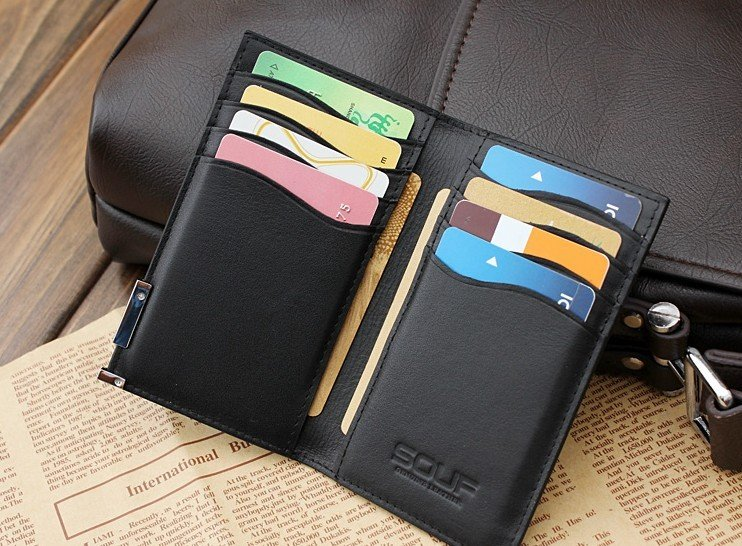 a2132e0b248f ultra thin high quality bank credit card holder case Genuine leather men  card holder wallet cover-in Wallets from Luggage   Bags on Aliexpress.com