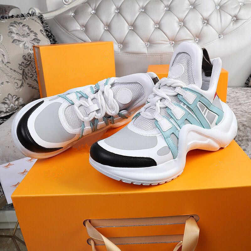 women Sneaker New 2019 Brand Women Sneakers Designer Sneakers Lace Up Leather Dad Shoes Design Casual Trainer Woman shoe