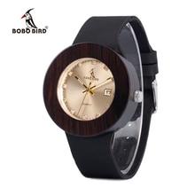 BOBO BIRD V-C03 Men Women Wooden Wristwatch Round Wooden Case Diamond Dial Auto Date Gold Watch dames horloges