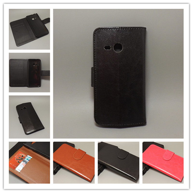 Crazy horse wallet case hold two Cards with 2 Card Holder and pouch slot For HTC One Mini 2 M8 Mini
