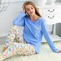 Chegam novas mulheres primavera roupas de algodão de manga comprida o pescoço pijama plus - tamanho mulheres lar roupa 100% pijama de algodão