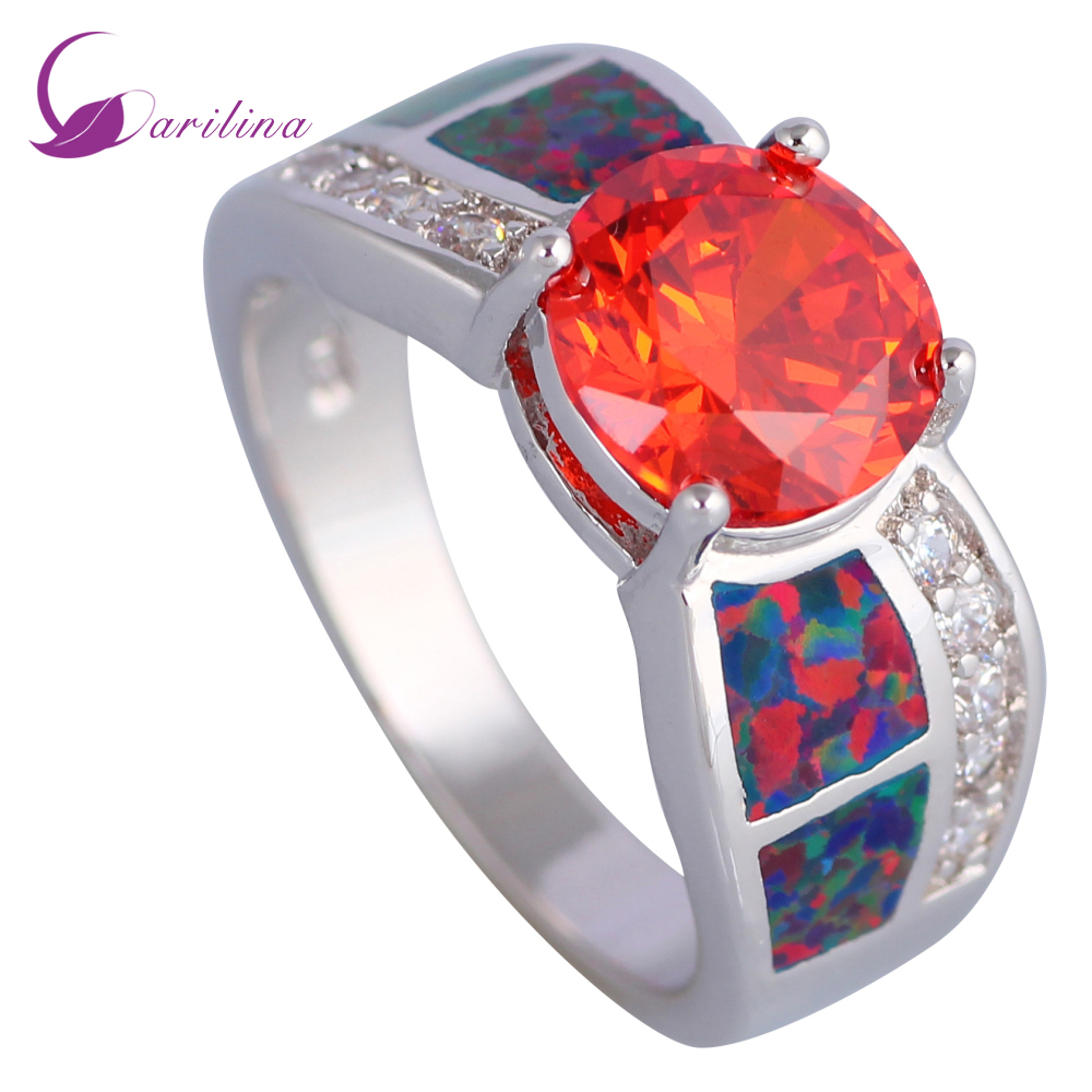 Crown 925 Silver Jewelry Red Garnet Women Wedding Party Ring Size 6-10