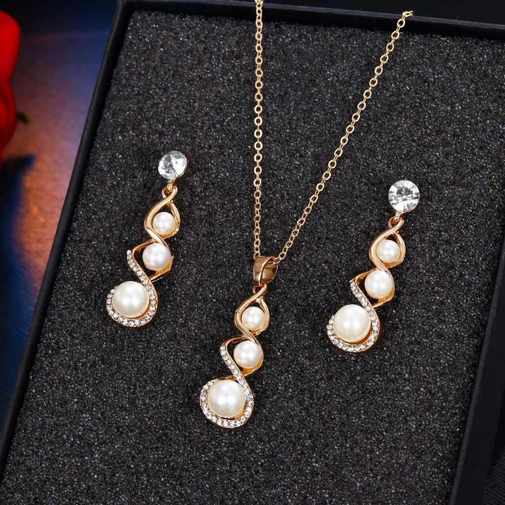FAMSHIN אופנה ספירלת קסם תכשיטי סט עבור נשים סימולציה פרל חתונת שרשרת קריסטל עגילי נשים כלה תכשיטי סט
