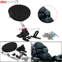 Motorcycle Adjustable Plug In Driver Rider Seat Backrest Kit For Harley Touring Electra Road Street Glide Road King 1997 2016