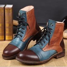 Bella Nuevo Invierno Hombres Zapatos Christia Men Ankle Boots Moda Patchwork de Cuero Genuino Encaje Hasta Botines Vaquero Botas Más El Tamaño