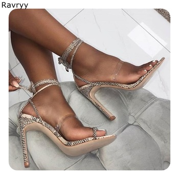 Ankle lace up Woman sandals snakeskin Summer fashion open toe thin heel high heels Sexy Pumps cover heel female dress shoe
