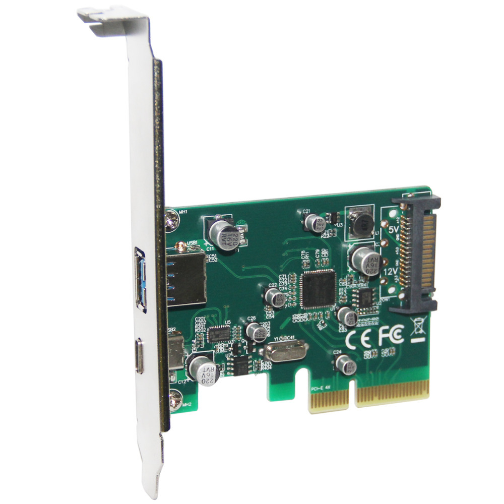 Suporte de Baixo 3.1 tipo a tipo – e Pci 4x a e Adaptador Portos Perfil Pcie Pci Express 10 Gbps Usb-c Usb3.1 2 Usb – c