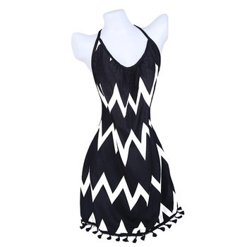 Sexy Bandage Backless Bodycon Dress Women Sleeveless Halter Summer Dress Snake Print Short Party Casual Striped Dress Sundress