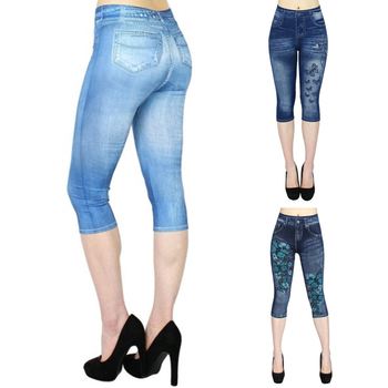 Printed False Denim Short Leggings 34 Women Jeans Leggings High Waist Breeches Capri Pants Super Elastic Jeggings Plus Size 3XL