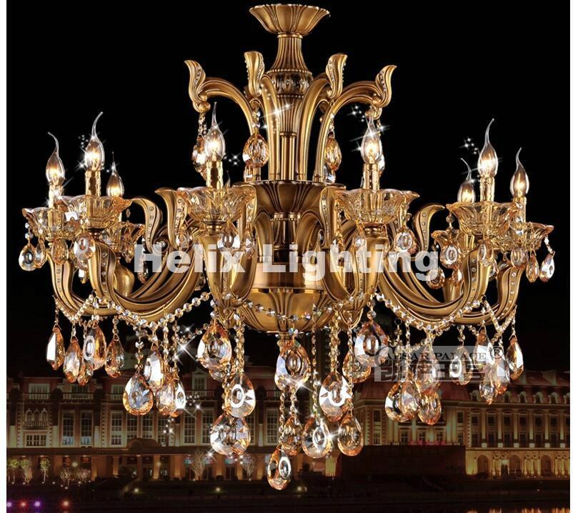Modern bronz antik kristálycsillár, láncszem luxus sárgaréz - Beltéri világítás - Fénykép 1