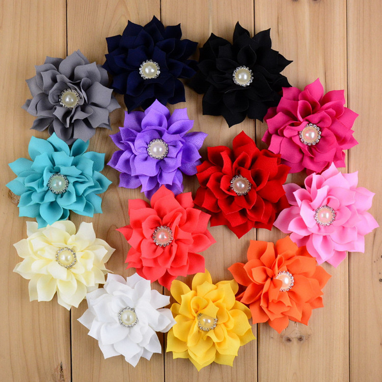 MeangNa 50pc/lot 3.6 13colors Artificial Lotus Leaf Flowers With Pearl Button For Hair Accessories Fabric Flowers For Headbands