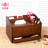 Wooden Remote Controller Storage Box Wooden Office Desktop Storage Box Living Room Tea Table Wooden Tissue