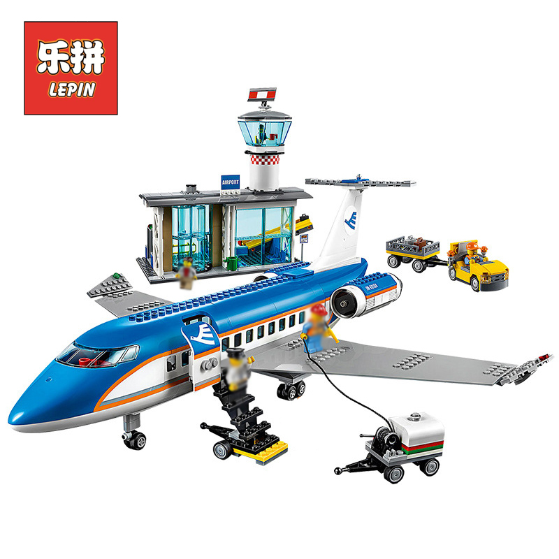 lepin 02043 City Airplane Series Airport Terminal Station Set Building Blocks Bricks 60104 Children Educational Toys Christmas 407pcs sets city police station building blocks bricks educational boys diy toys birthday brinquedos christmas gift toy