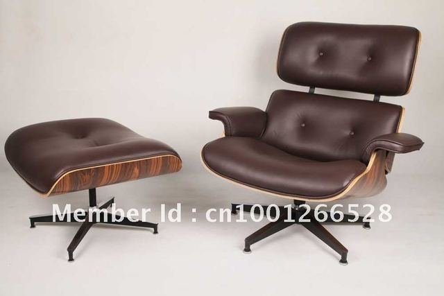 Eames Lounge Stoel : Leather eames lounge chair with ottoman in leather eames lounge