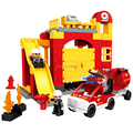 De gran Tamaño de ladrillos Bloques de Construcción de la estación de bomberos 65 unids Juguetes Clásicos DIY Juguete Educativo Del Bebé Compatible con lego duplo 6168
