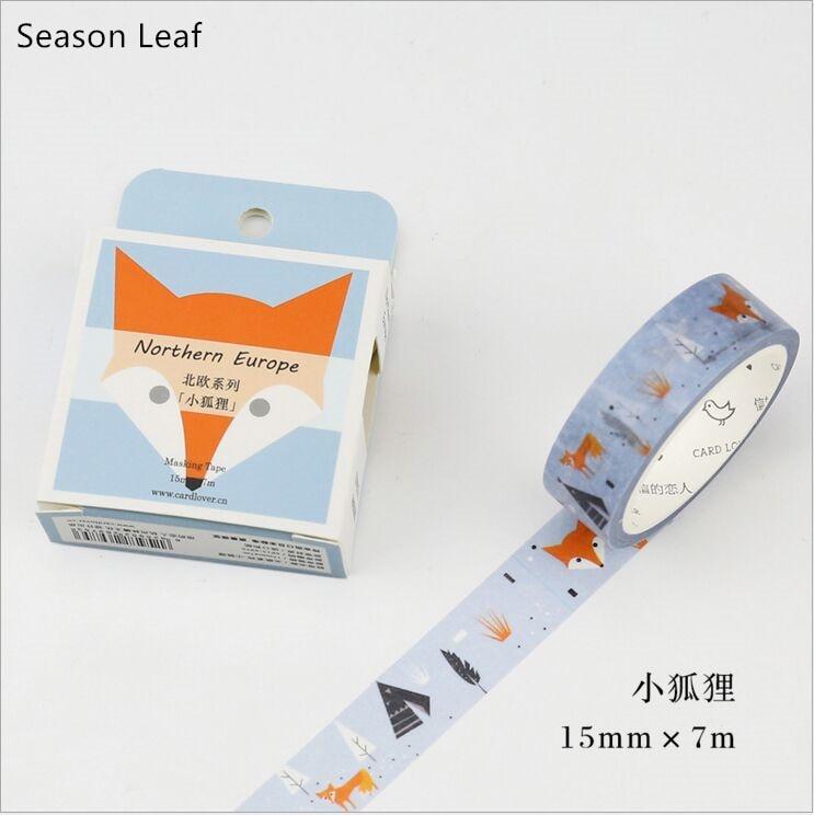 Northern Europe Forest Animal Fox Washi Tape DIY Diary Decoration Planner Scrapbook Sticker Label Masking Tape