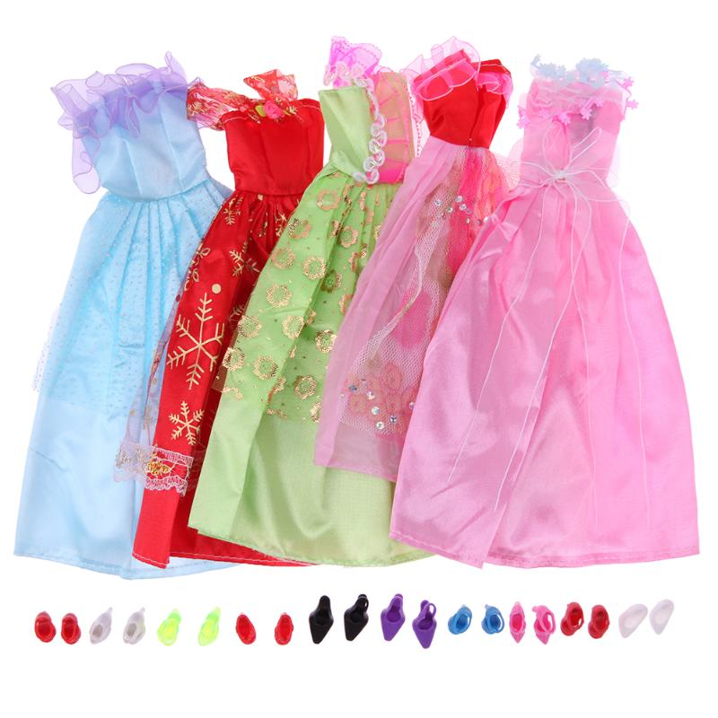 5 Pcs Beautiful Party Handmade Mini Fashion Dress Doll Clothes Short Skirt +10 Shoes For Barbie Doll Kids Girls Gifts Toys