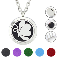 Free With Chain as Gift! Fashion Butterfly locket necklace  316L Stainless Steel Aromatherapy  Essential Oil Diffuser Necklace