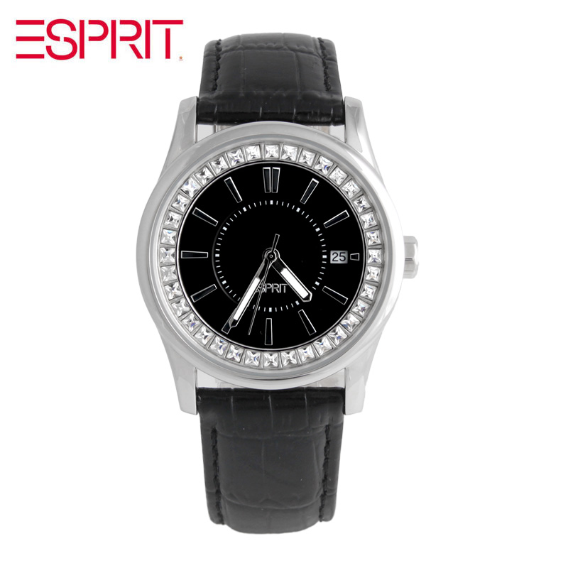 MS ESPRIT black diamond disc belt quartz watch ES105452002 все цены