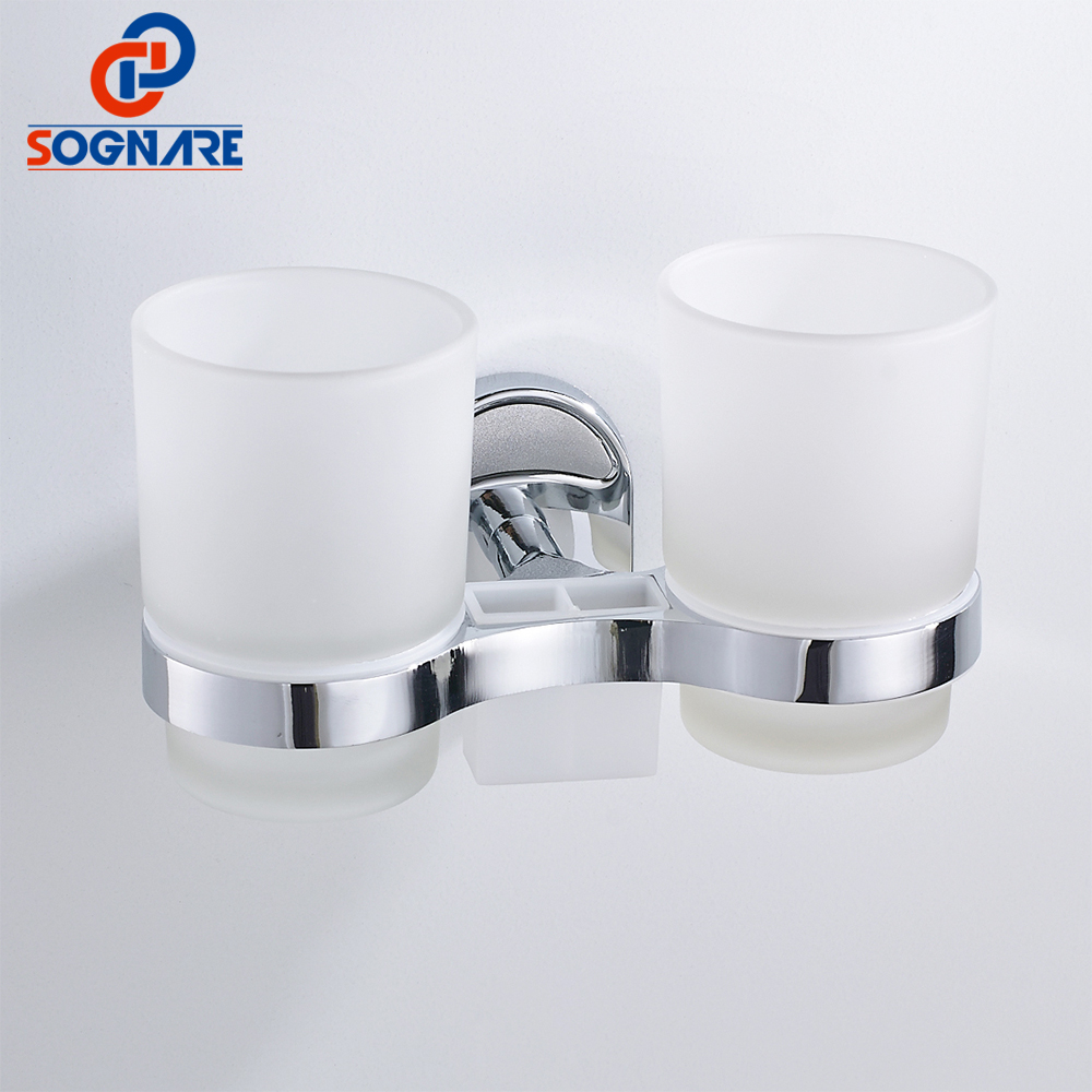 SOGNARE Silver Zinc alloy Toothbrush Tooth Cup Holder Double Cup Holder Glass Cups Wall Mount Bathroom Accessories Chrome 1608-2 image