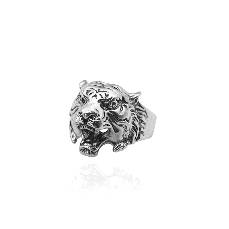 Hip Hop Retro Punk Tiger Head Ring Gothic Fashion Personality Cool Male Tiger Ring Man Domineering Knight Men 39 s Animal Ring Gift in Rings from Jewelry amp Accessories