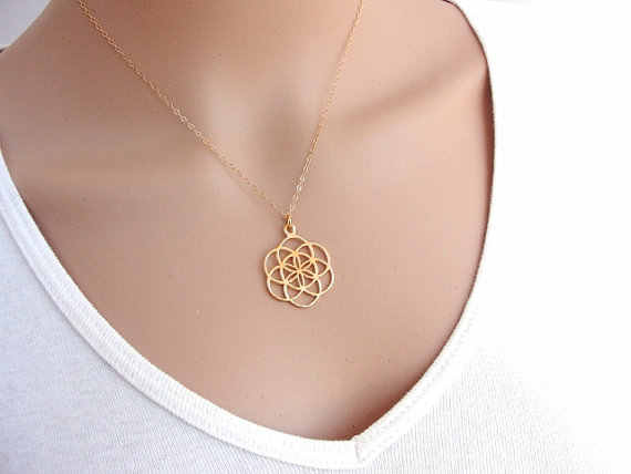 Seed And Flower Of Life Yoga Jewelry Sacred Geometry Boho Jewelry Mandala Pendant Necklace for women